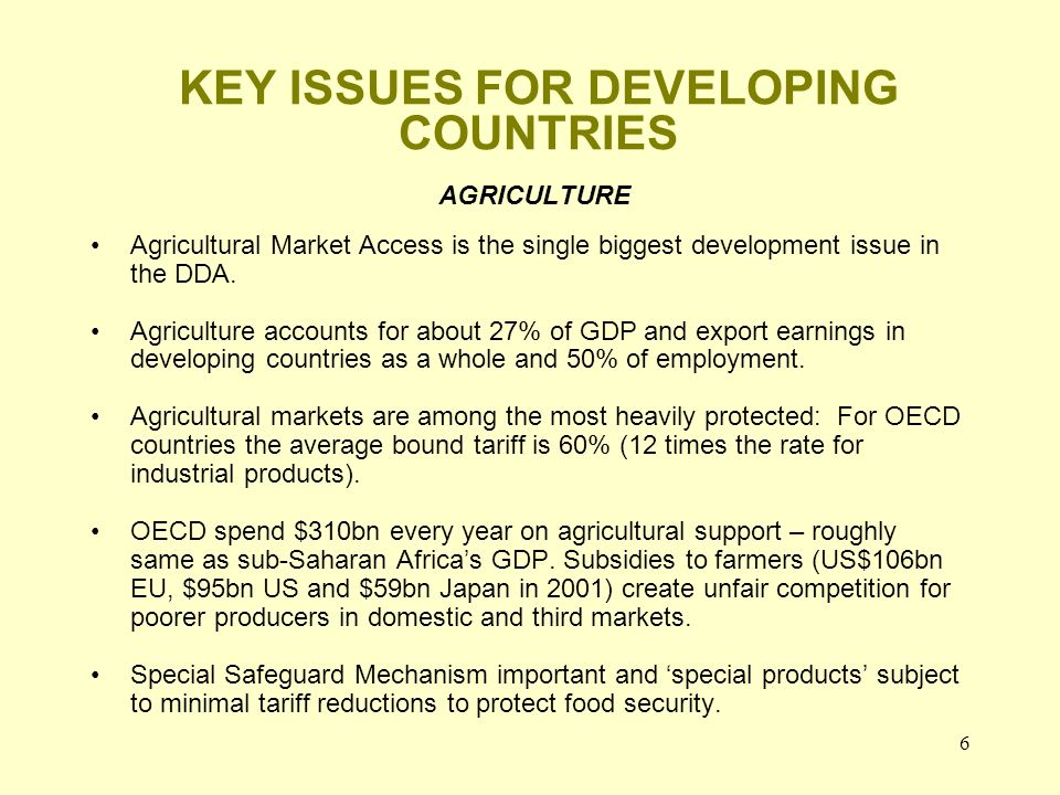 6 KEY ISSUES FOR DEVELOPING COUNTRIES AGRICULTURE Agricultural Market Access is the single biggest development issue in the DDA.