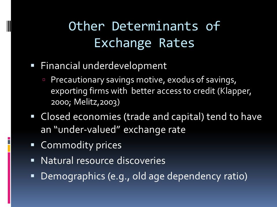 Other Determinants of Exchange Rates Financial underdevelopment Precautionary savings motive, exodus of savings, exporting firms with better access to