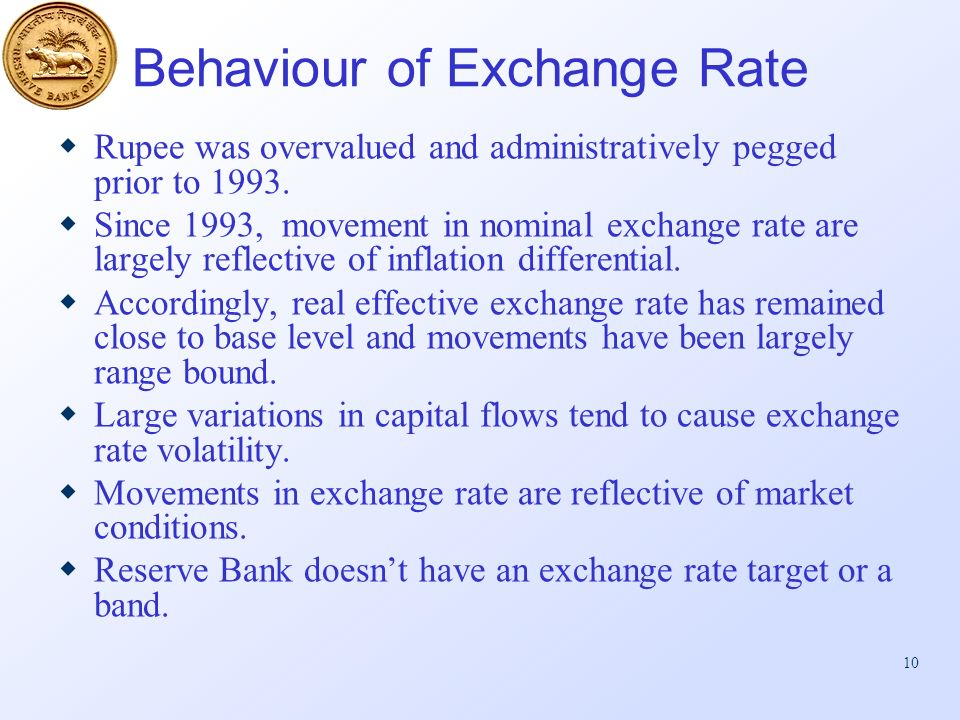 10 Behaviour of Exchange Rate Rupee was overvalued and administratively pegged prior to 1993.
