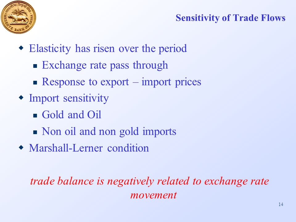 14 Sensitivity of Trade Flows Elasticity has risen over the period Exchange rate pass through Response to export – import prices Import sensitivity Gold and Oil Non oil and non gold imports Marshall-Lerner condition trade balance is negatively related to exchange rate movement