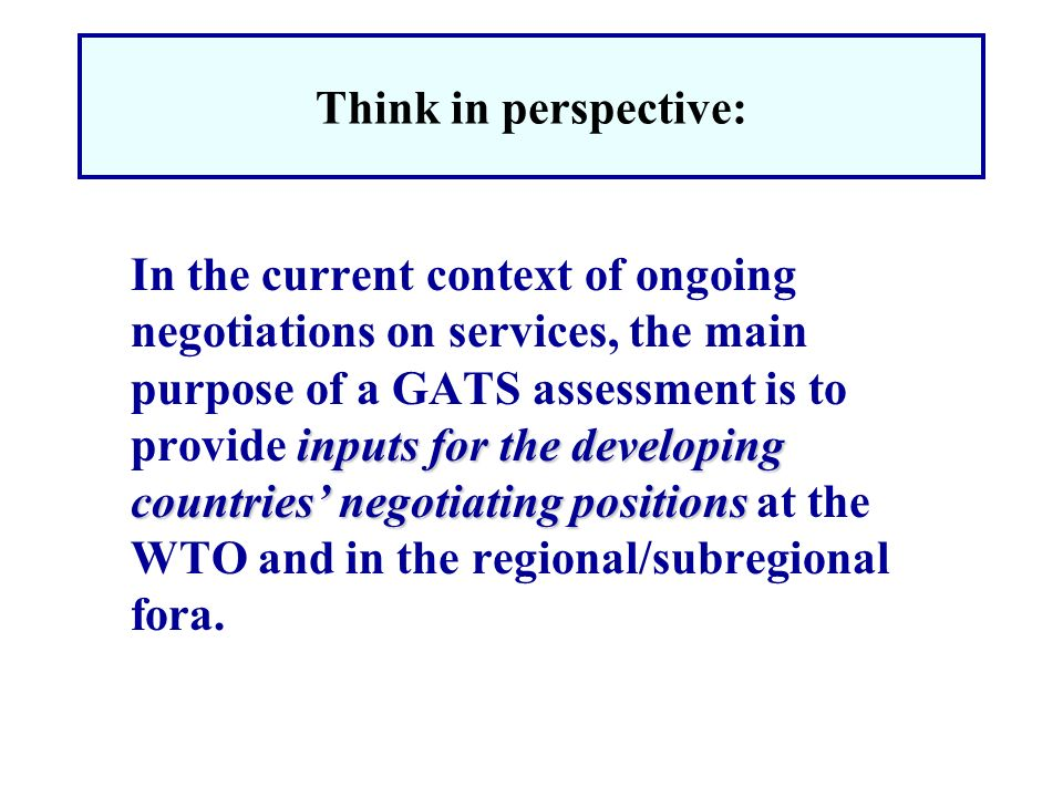 Think in perspective: inputs for the developing countries negotiating positions In the current context of ongoing negotiations on services, the main p