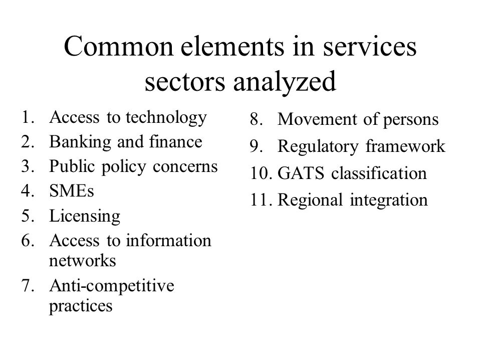 SERVICES IN THE CONTEXT OF THE « SINGAPORE ISSUES »: competitionIn many services sectors, the issue of competition has a high priority from the point of view of market access for the exports of developing countries (tourism for example).
