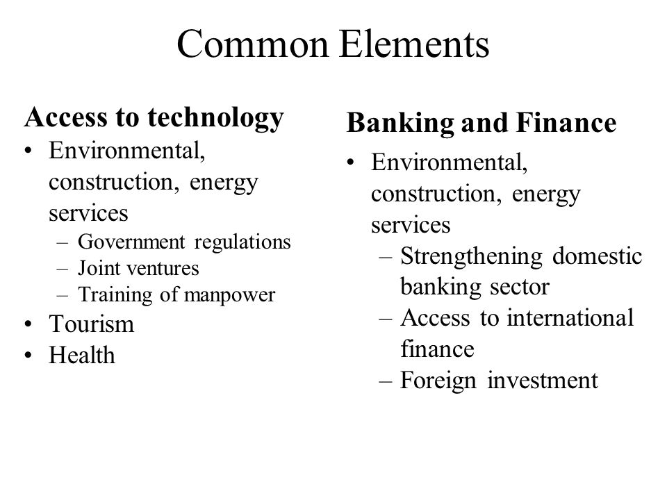 Common Elements Access to technology Environmental, construction, energy services –Government regulations –Joint ventures –Training of manpower Tourism Health Banking and Finance Environmental, construction, energy services –Strengthening domestic banking sector –Access to international finance –Foreign investment