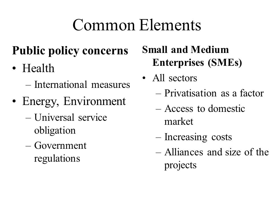 Common Elements Public policy concerns Health –International measures Energy, Environment –Universal service obligation –Government regulations Small