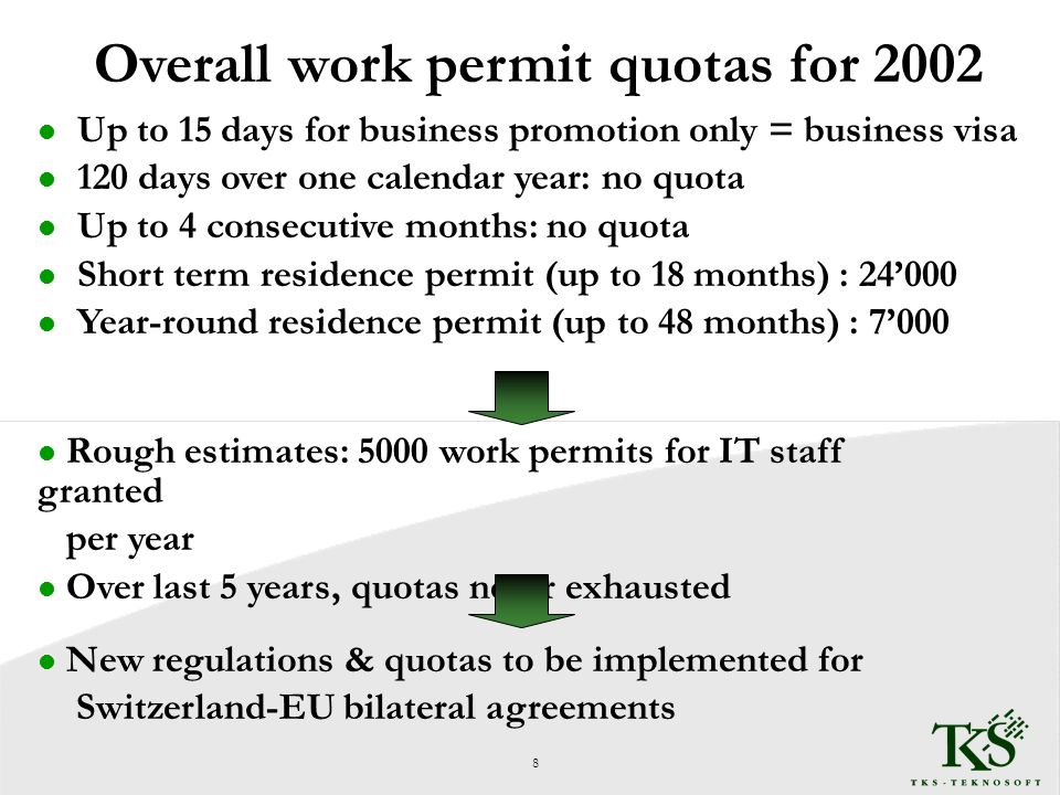 Overall work permit quotas for 2002 l Up to 15 days for business promotion only = business visa l 120 days over one calendar year: no quota l Up to 4 consecutive months: no quota l Short term residence permit (up to 18 months) : 24000 l Year-round residence permit (up to 48 months) : 7000 l Rough estimates: 5000 work permits for IT staff granted per year l Over last 5 years, quotas never exhausted 8 l New regulations & quotas to be implemented for Switzerland-EU bilateral agreements
