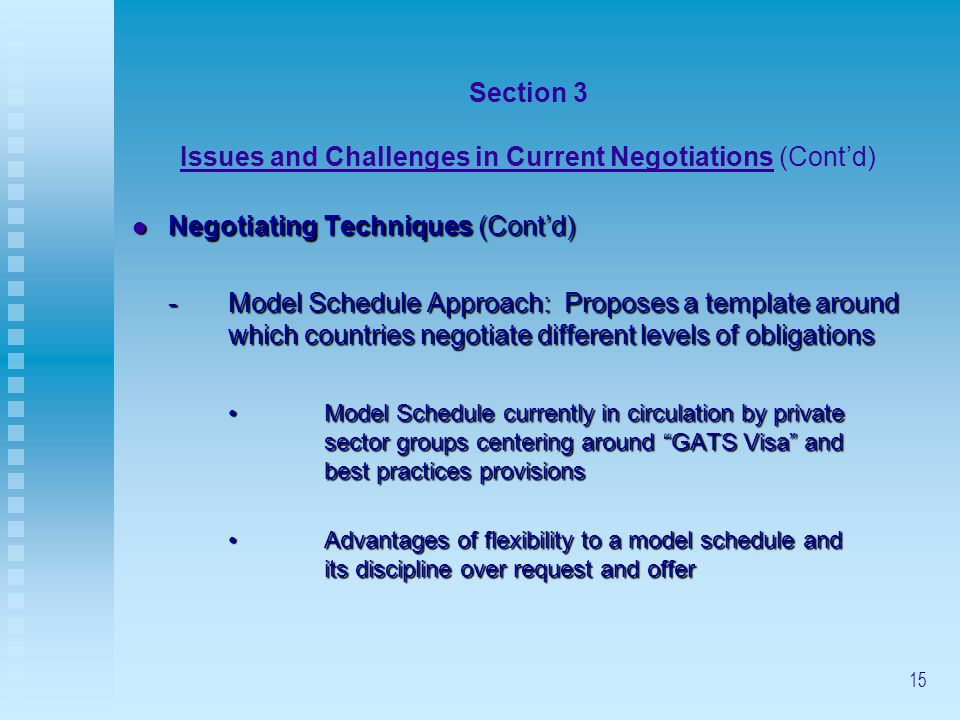 15 Section 3 Issues and Challenges in Current Negotiations (Contd) Negotiating Techniques (Contd) Negotiating Techniques (Contd) -Model Schedule Appro