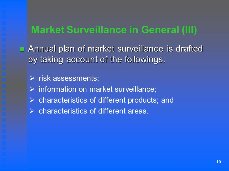 10 Market Surveillance in General (III) Annual plan of market surveillance is drafted by taking account of the followings: Annual plan of market surveillance is drafted by taking account of the followings: risk assessments; information on market surveillance; characteristics of different products; and characteristics of different areas.