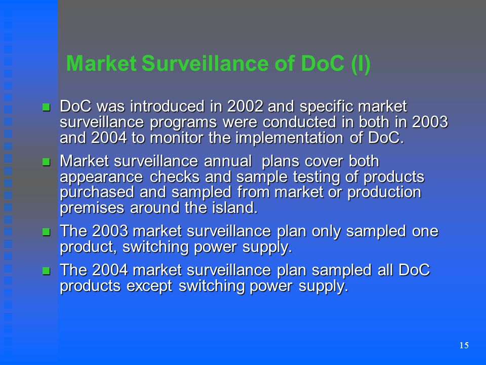 15 Market Surveillance of DoC (I) DoC was introduced in 2002 and specific market surveillance programs were conducted in both in 2003 and 2004 to monitor the implementation of DoC.