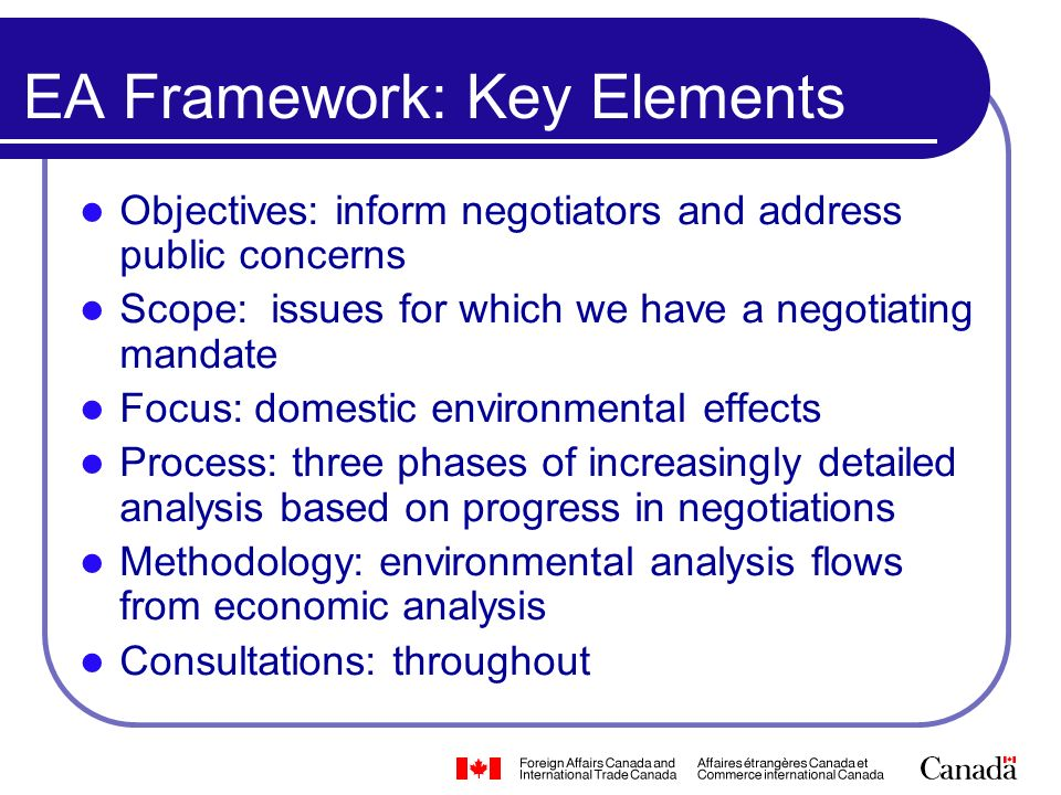 EA Framework: Key Elements Objectives: inform negotiators and address public concerns Scope: issues for which we have a negotiating mandate Focus: dom