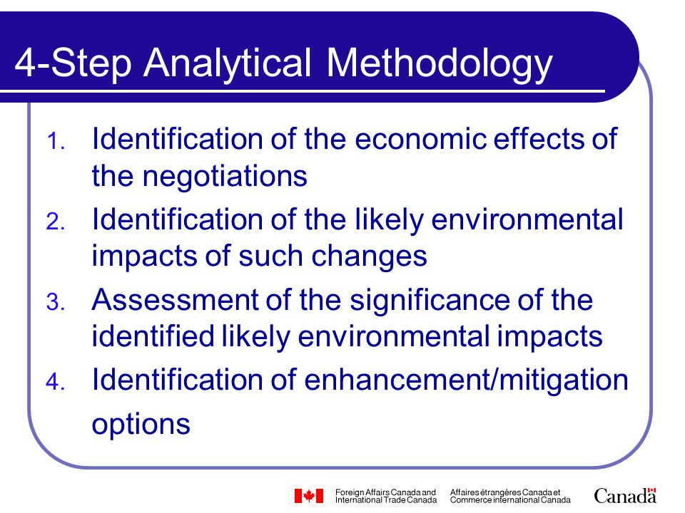 4-Step Analytical Methodology 1. Identification of the economic effects of the negotiations 2.