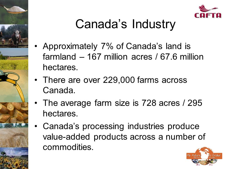 Canadas Industry Approximately 7% of Canadas land is farmland – 167 million acres / 67.6 million hectares. There are over 229,000 farms across Canada.