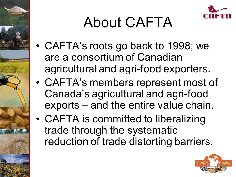 About CAFTA CAFTAs roots go back to 1998; we are a consortium of Canadian agricultural and agri-food exporters. CAFTAs members represent most of Canad