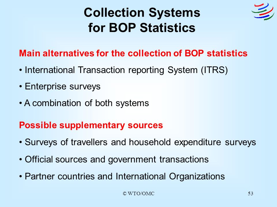© WTO/OMC53 Collection Systems for BOP Statistics Main alternatives for the collection of BOP statistics International Transaction reporting System (I