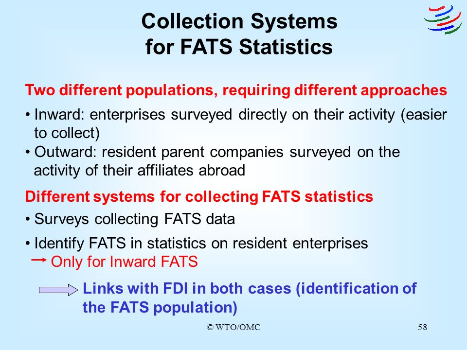 © WTO/OMC58 Collection Systems for FATS Statistics Two different populations, requiring different approaches Inward: enterprises surveyed directly on