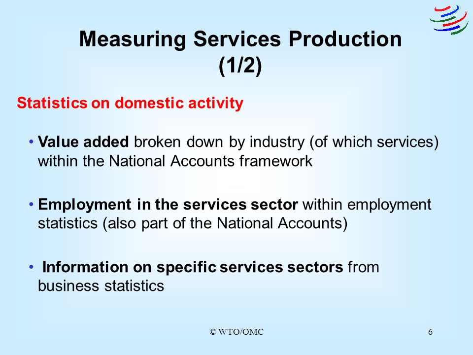 © WTO/OMC6 Measuring Services Production (1/2) Statistics on domestic activity Value added broken down by industry (of which services) within the Nati