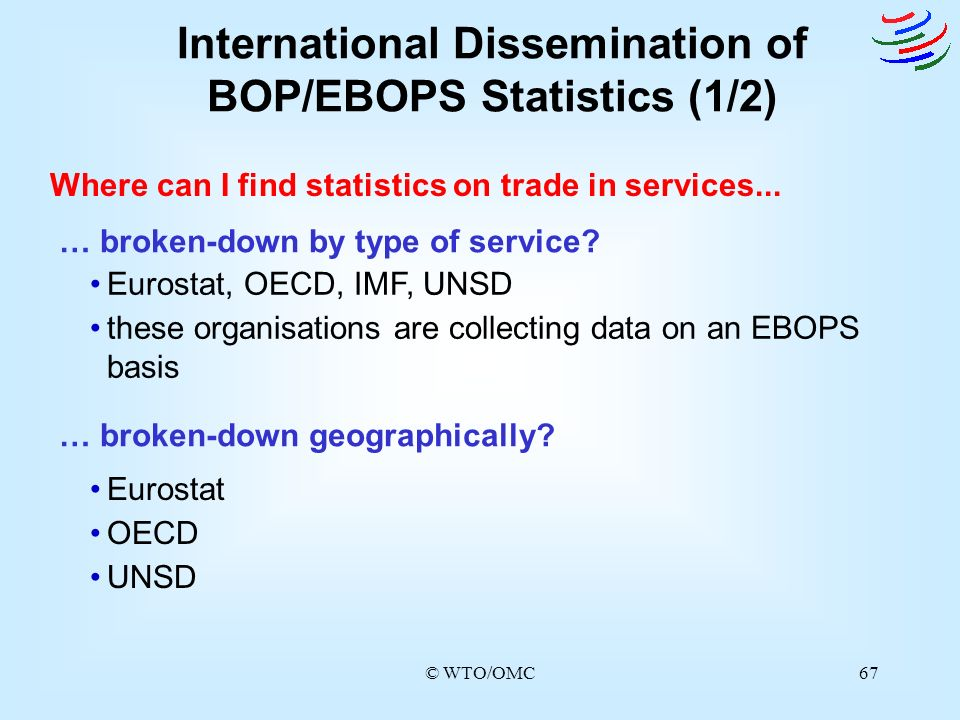 © WTO/OMC67 … broken-down by type of service? … broken-down geographically? International Dissemination of BOP/EBOPS Statistics (1/2) Where can I find