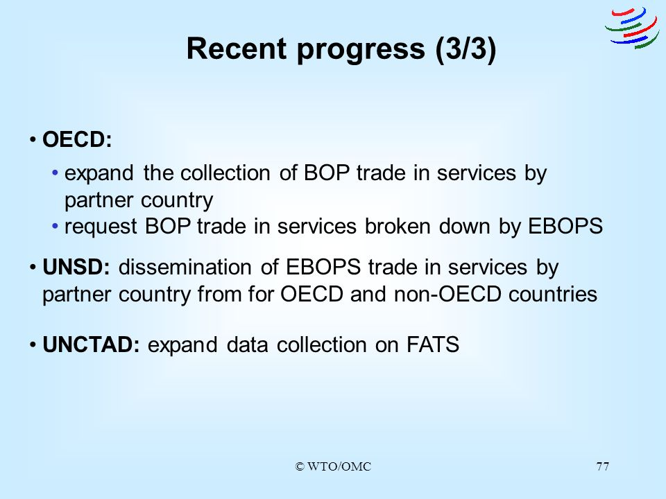 © WTO/OMC77 Recent progress (3/3) expand the collection of BOP trade in services by partner country request BOP trade in services broken down by EBOPS