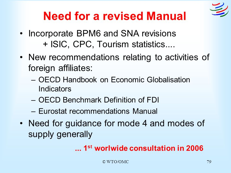 © WTO/OMC79 Need for a revised Manual Incorporate BPM6 and SNA revisions + ISIC, CPC, Tourism statistics.... New recommendations relating to activitie