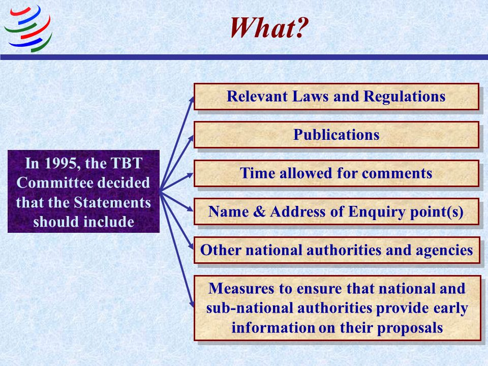 What? In 1995, the TBT Committee decided that the Statements should include Relevant Laws and Regulations Name & Address of Enquiry point(s) Publicati