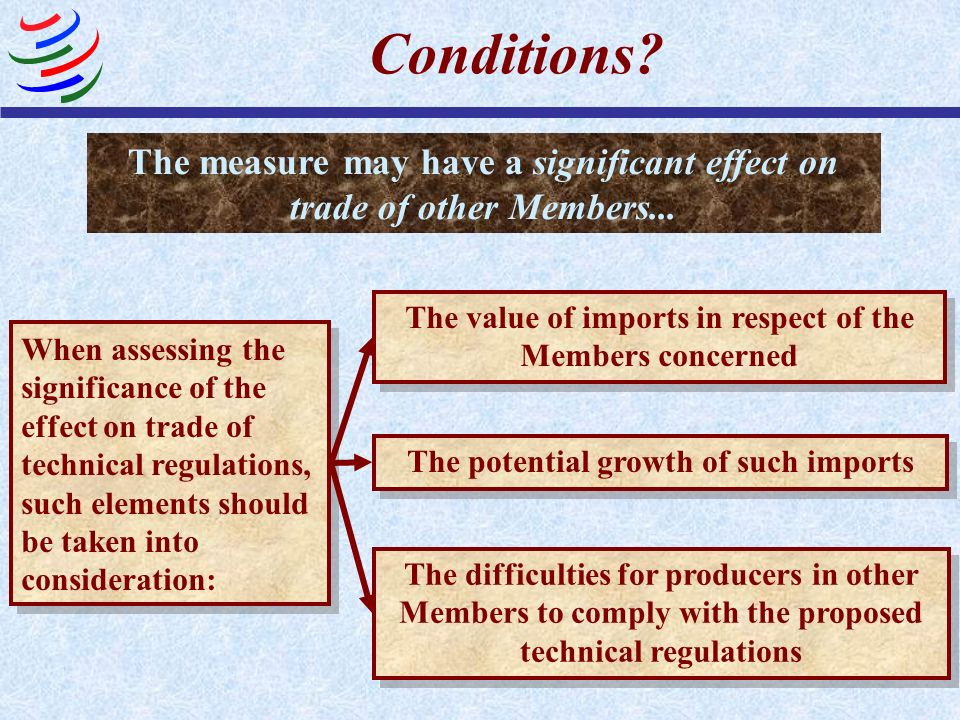 Conditions? The measure may have a significant effect on trade of other Members... When assessing the significance of the effect on trade of technical