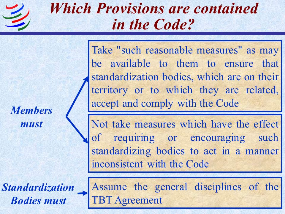Which Provisions are contained in the Code? Members must Take