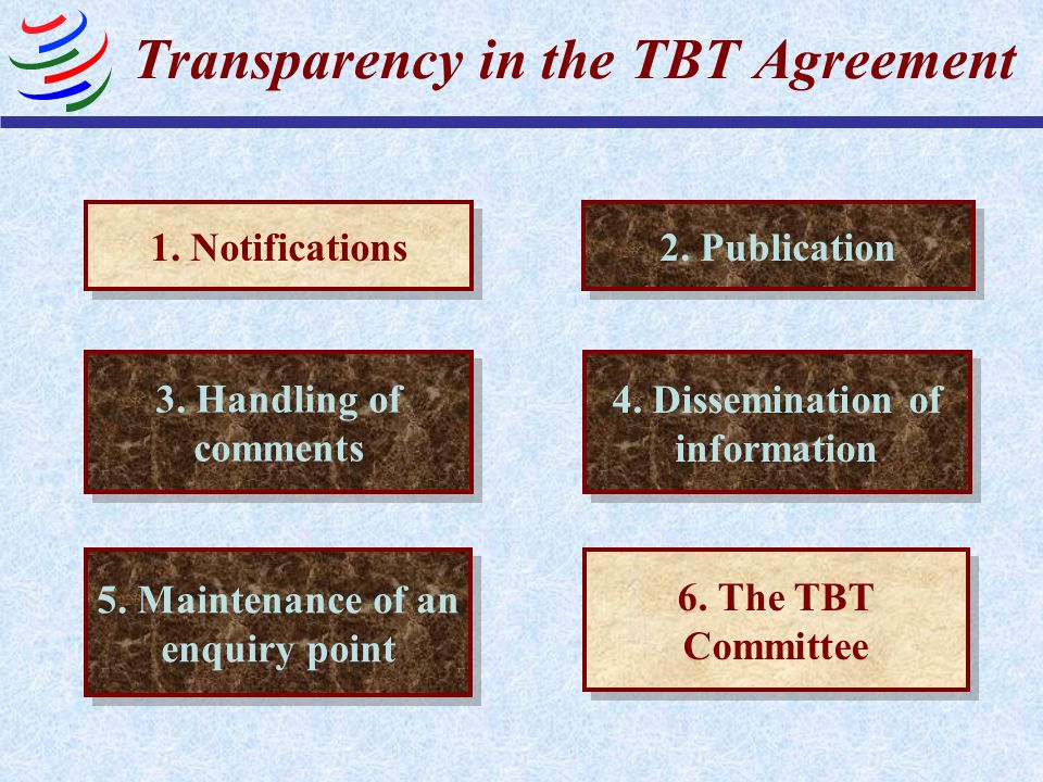 Transparency in the TBT Agreement 1. Notifications 2. Publication 3. Handling of comments 5. Maintenance of an enquiry point 4. Dissemination of infor