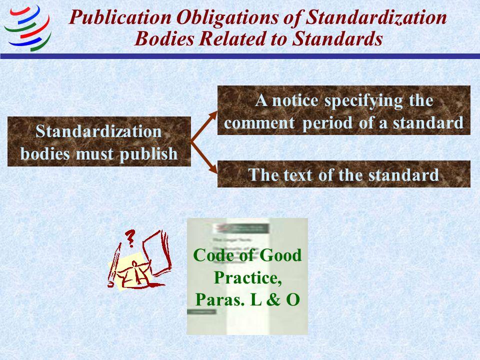 Publication Obligations of Standardization Bodies Related to Standards Standardization bodies must publish Code of Good Practice, Paras. L & O A notic