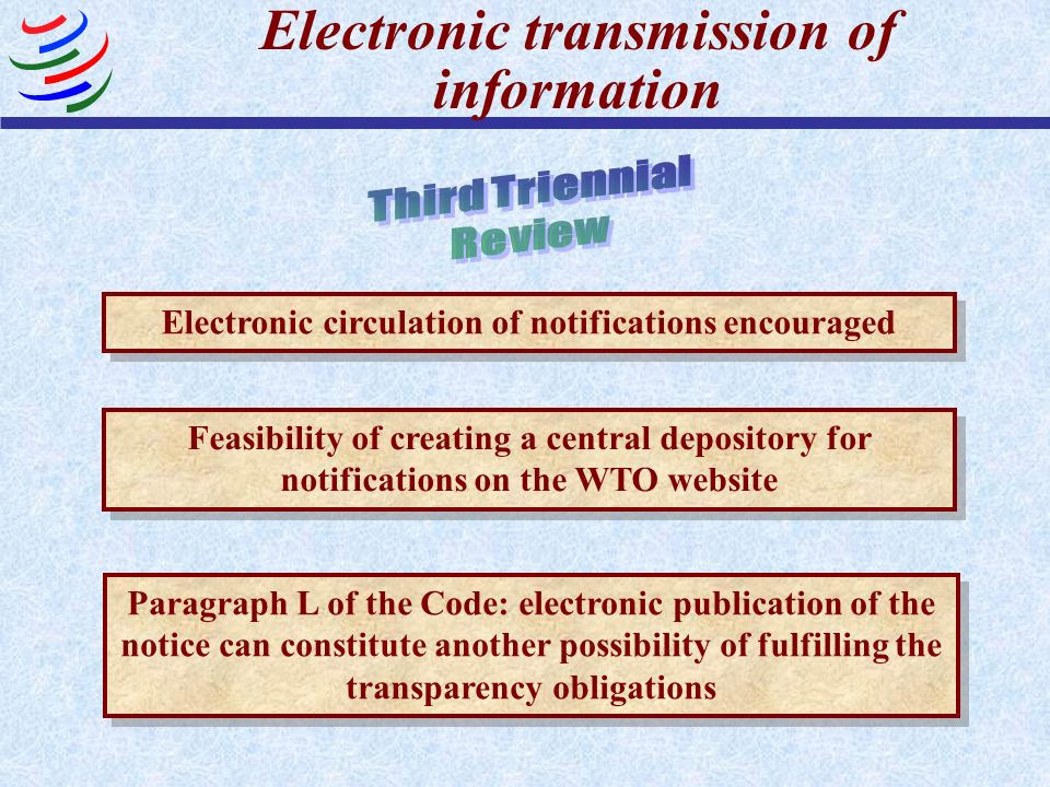 Electronic transmission of information Feasibility of creating a central depository for notifications on the WTO website Paragraph L of the Code: elec