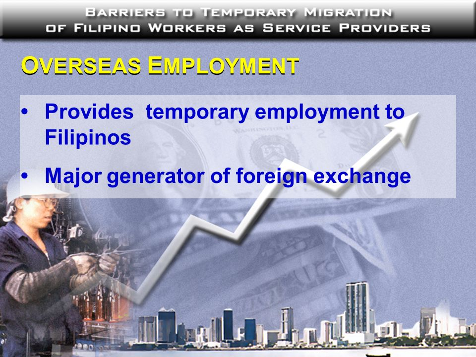O VERSEAS E MPLOYMENT Provides temporary employment to Filipinos Major generator of foreign exchange