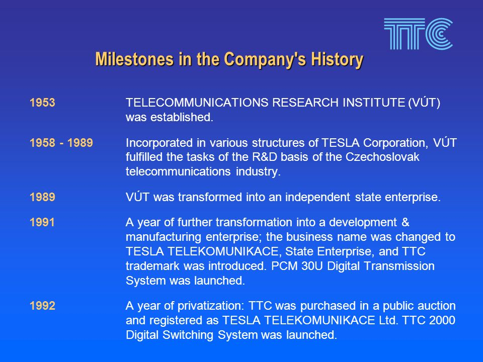 Milestones in the Company s History 1953 TELECOMMUNICATIONS RESEARCH INSTITUTE (VÚT) was established.