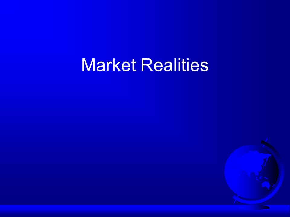 Market realities F Sustainability factors are being mainstreamed in key international supply chains F Brand reputation rather than consumer demand or regulation is the major driving force F Dynamics differ between sectors and markets F Producers are price and standard-takers