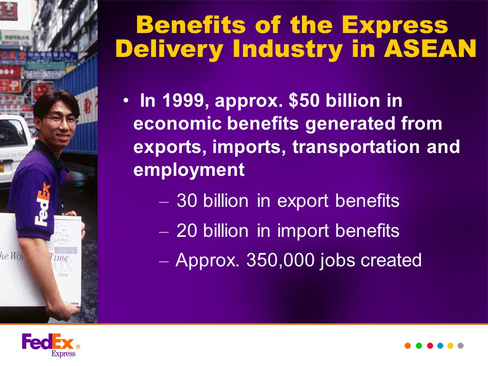 In 1999, approx. $50 billion in economic benefits generated from exports, imports, transportation and employment – 30 billion in export benefits – 20