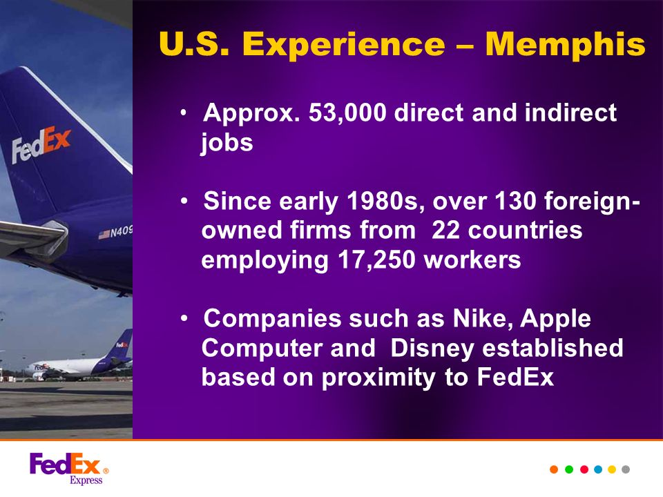 U.S. Experience – Memphis Approx. 53,000 direct and indirect jobs Since early 1980s, over 130 foreign- owned firms from 22 countries employing 17,250