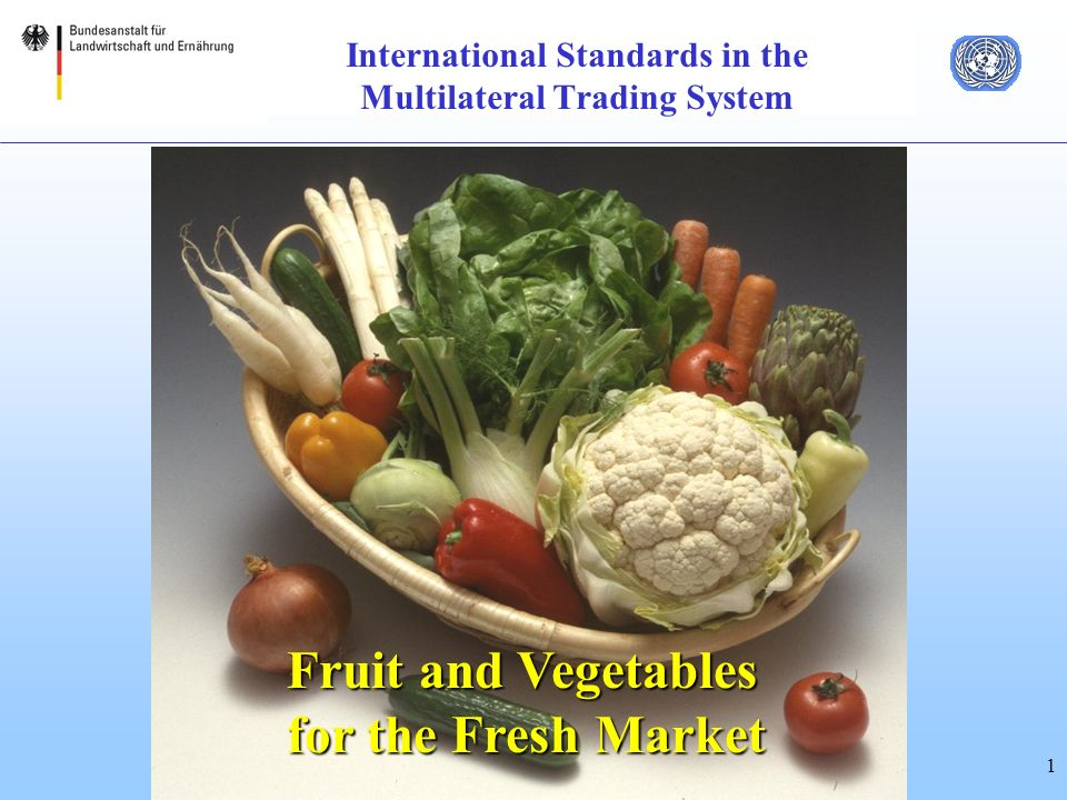 1 International Standards in the Multilateral Trading System Fruit and Vegetables for the Fresh Market