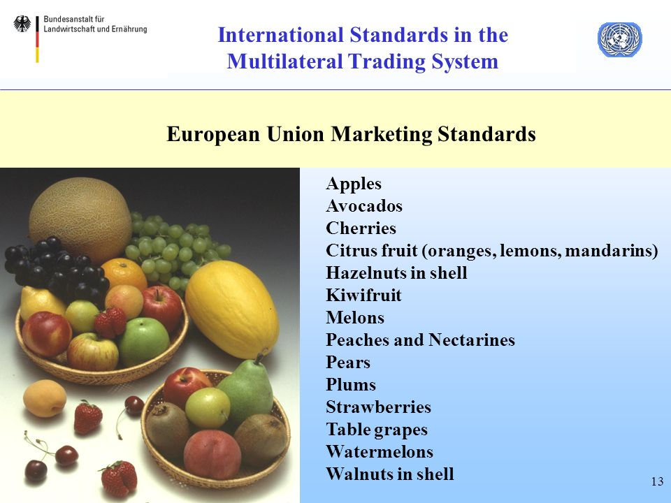 13 International Standards in the Multilateral Trading System European Union Marketing Standards Apples Avocados Cherries Citrus fruit (oranges, lemons, mandarins) Hazelnuts in shell Kiwifruit Melons Peaches and Nectarines Pears Plums Strawberries Table grapes Watermelons Walnuts in shell