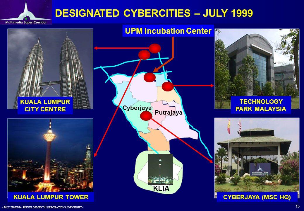 - M ULTIMEDIA D EVELOPMENT C ORPORATION C OPYRIGHT - 15 DESIGNATED CYBERCITIES – JULY 1999 KUALA LUMPUR TOWER KUALA LUMPUR CITY CENTRE TECHNOLOGY PARK