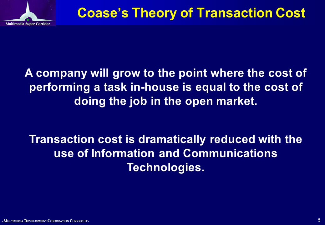 - M ULTIMEDIA D EVELOPMENT C ORPORATION C OPYRIGHT - 5 Coases Theory of Transaction Cost A company will grow to the point where the cost of performing