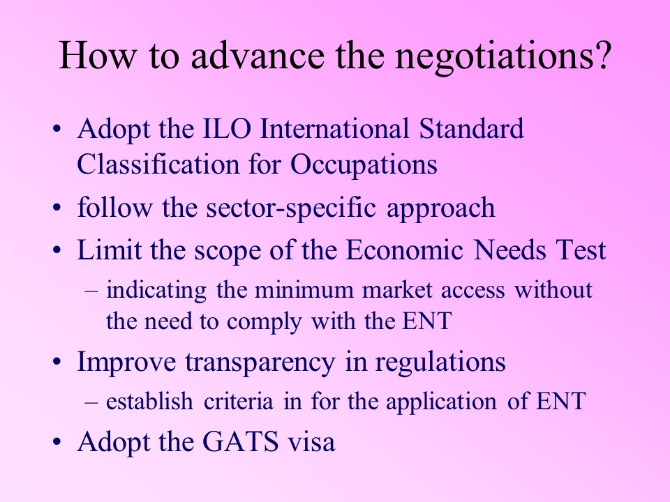 How to advance the negotiations.