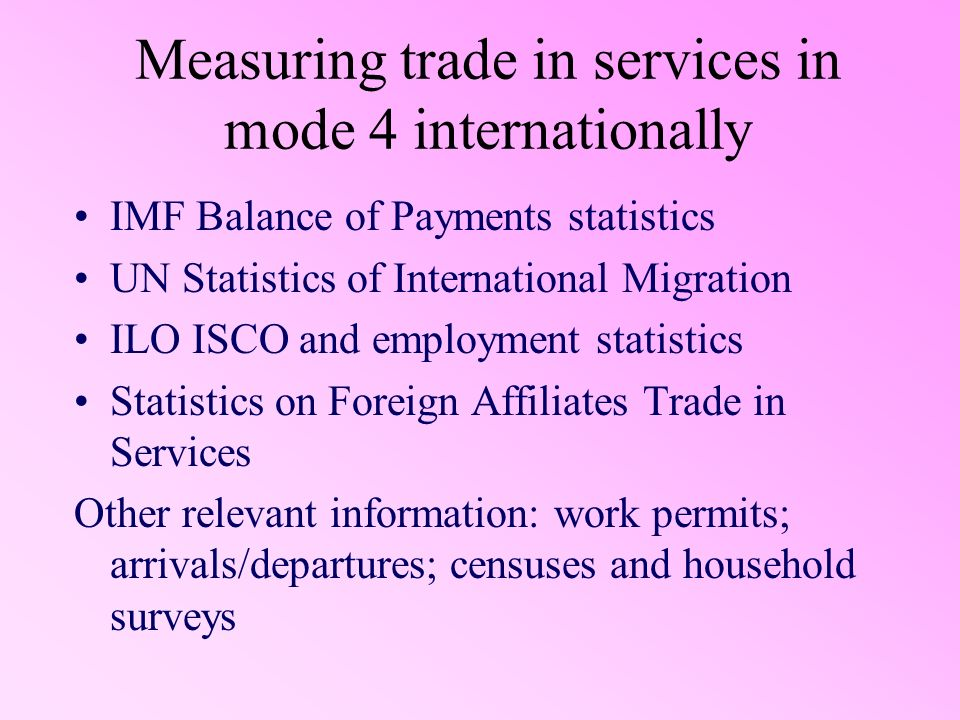 Measuring trade in services in mode 4 internationally IMF Balance of Payments statistics UN Statistics of International Migration ILO ISCO and employm
