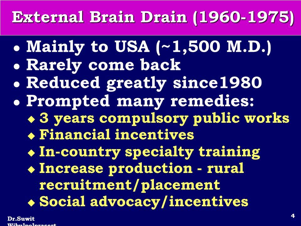 Dr.Suwit Wibulpolprasert 4 External Brain Drain (1960-1975) l Mainly to USA (~1,500 M.D.) l Rarely come back l Reduced greatly since1980 l Prompted many remedies: u 3 years compulsory public works u Financial incentives u In-country specialty training u Increase production - rural recruitment/placement u Social advocacy/incentives