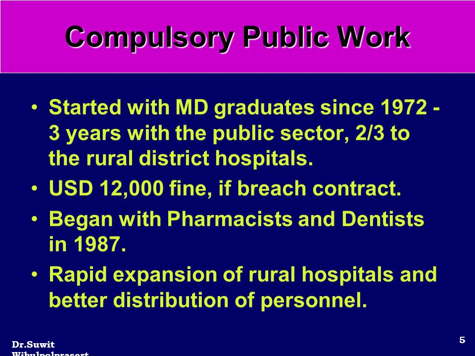Dr.Suwit Wibulpolprasert 5 Started with MD graduates since 1972 - 3 years with the public sector, 2/3 to the rural district hospitals.