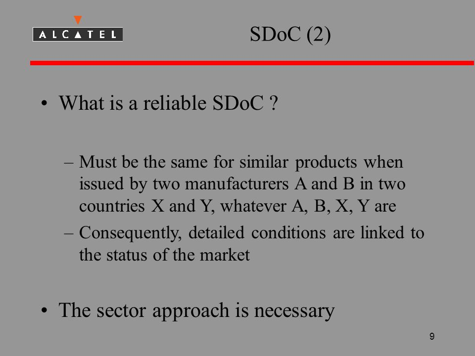 9 SDoC (2) What is a reliable SDoC .