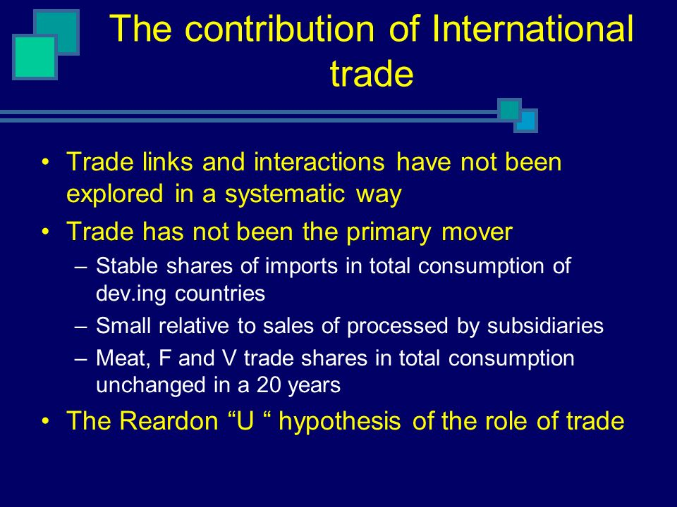 The contribution of International trade Trade links and interactions have not been explored in a systematic way Trade has not been the primary mover –