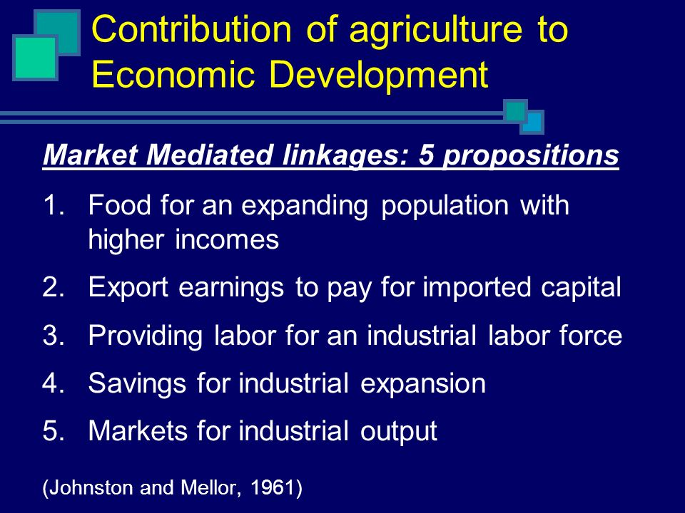 Contribution of agriculture to Economic Development Market Mediated linkages: 5 propositions 1.Food for an expanding population with higher incomes 2.