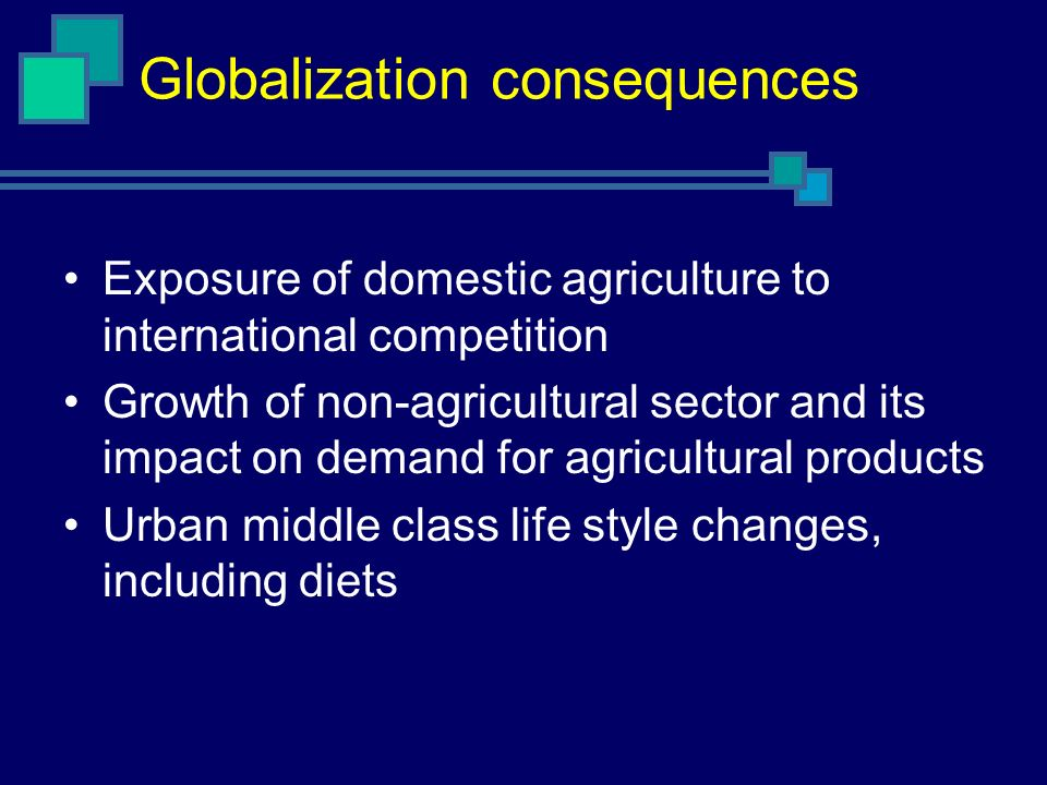 Globalization consequences Exposure of domestic agriculture to international competition Growth of non-agricultural sector and its impact on demand fo