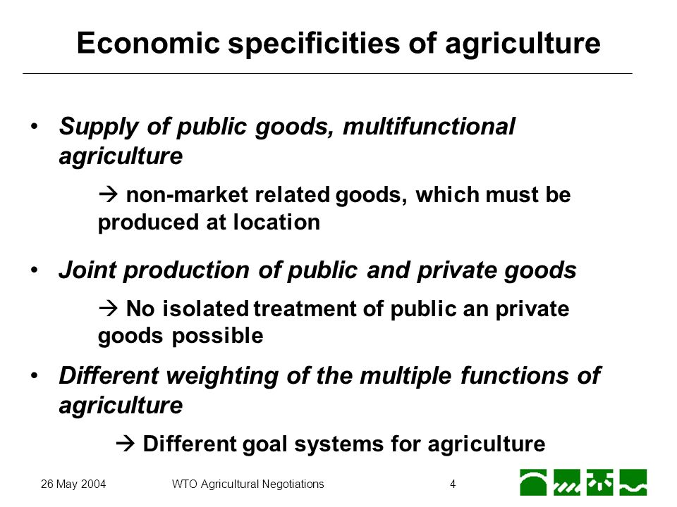 26 May 2004WTO Agricultural Negotiations5 Multifunctionality: Joint production Production Process INPUT: land, labour,...