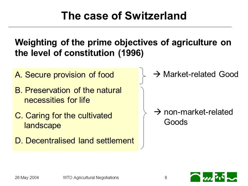 26 May 2004WTO Agricultural Negotiations8 The case of Switzerland Weighting of the prime objectives of agriculture on the level of constitution (1996)