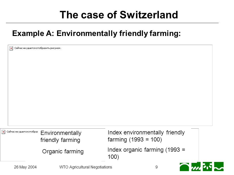 26 May 2004WTO Agricultural Negotiations9 The case of Switzerland Environmentally friendly farming Organic farming Index environmentally friendly farming (1993 = 100) Index organic farming (1993 = 100) Example A: Environmentally friendly farming: