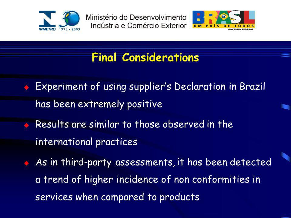 Final Considerations Experiment of using suppliers Declaration in Brazil has been extremely positive Results are similar to those observed in the inte