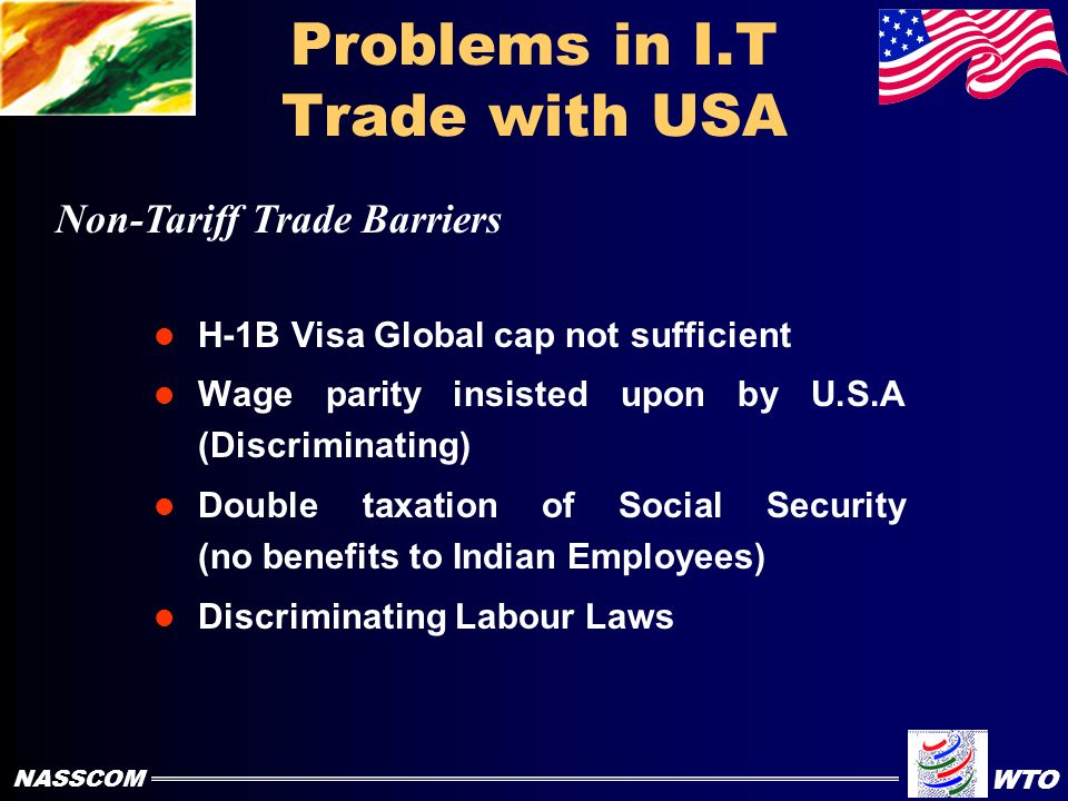 I.T. Trade with USA India Exported I.T. Software and Services worth US$ 1.7 Billion to U.S.A during 1998 - 99 (Total Indian Software Export was worth